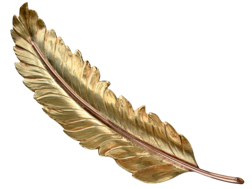 1949 Oakes 14K Gold Feather Brooch
