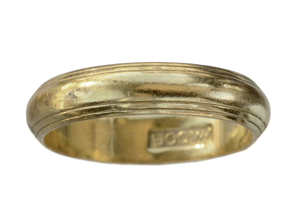 c1950 Striped 22K Gold Band