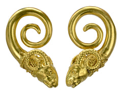 Vintage Ram's Head Earrings