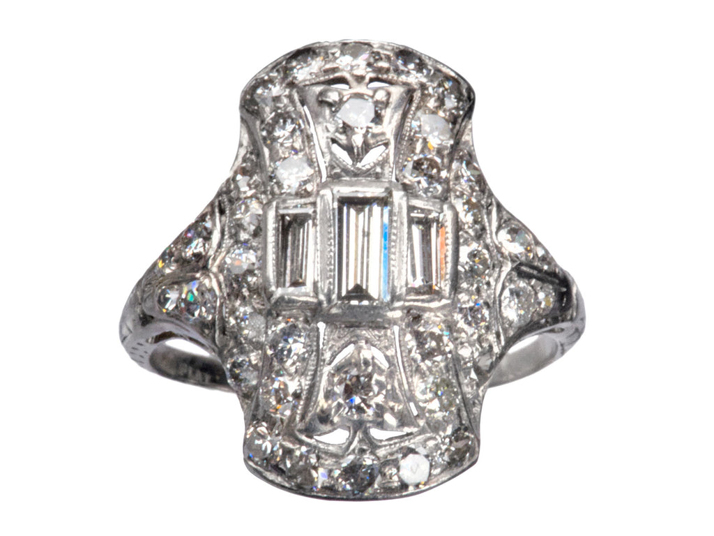 1930s Art Deco Diamond Cocktail Ring, Platinum
