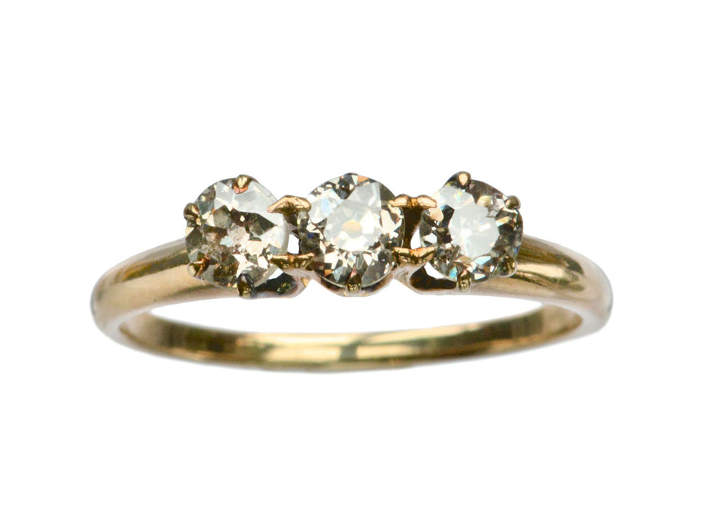 1890s Three Gray Diamond Ring