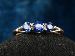 1920 Deco 3 Sapphire Ring
