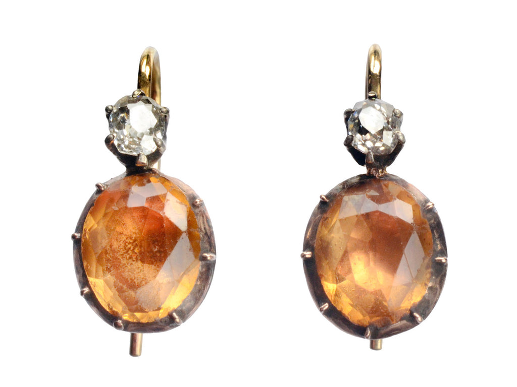 Georgian Topaz Paste & Diamond Earrings