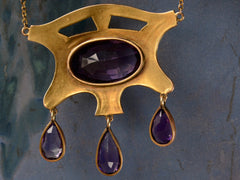 1900s Arts & Crafts Amethyst Pendant Necklace