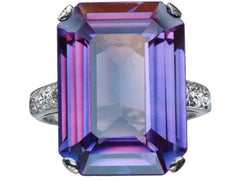 1930s Deco Simulated Alexandrite Ring