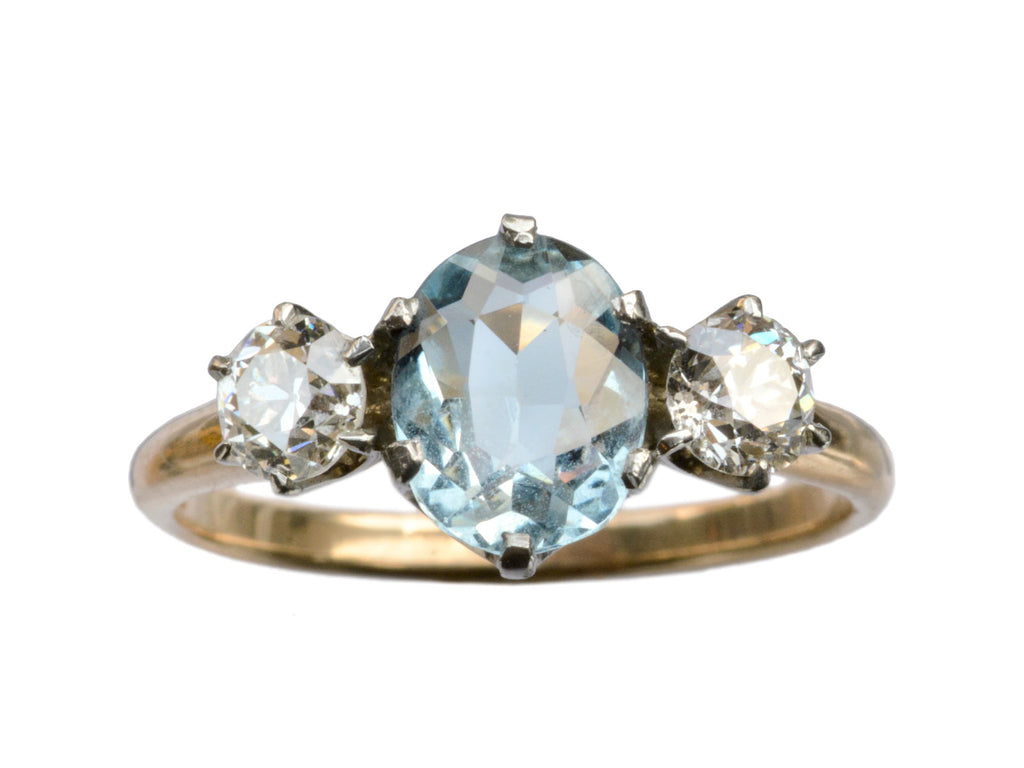 1910s Aqua & Diamond Ring