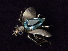 1910s Aquamarine Fly Brooch