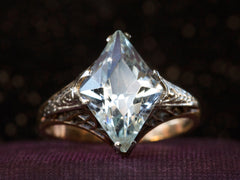 1930s Aquamarine Filigree Ring