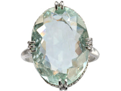 1920s Aquamarine Filigree Ring