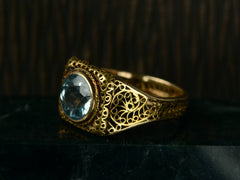 1920s Filigree Aquamarine Ring