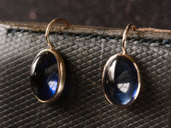 Blue Cabochon Gold Earrings