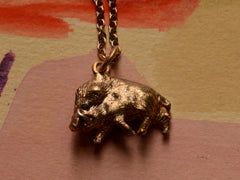 1890s Victorian Wild Boar Pendant Necklace