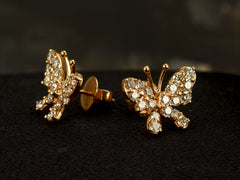 1980s Diamond Butterfly Stud Earrings
