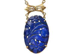1920s Carved Lapis Necklace