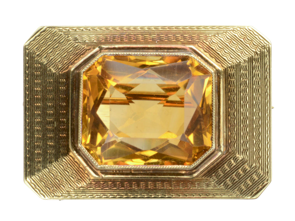 1940s 14K Citrine Brooch