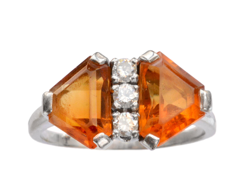 1940s Deco Citrine Ring