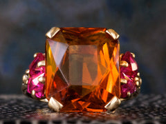 1940s Retro Citrine & Ruby Ring