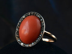c1880 Victorian Coral & Diamond Ring