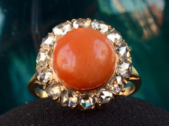1880s Coral & Diamond Ring