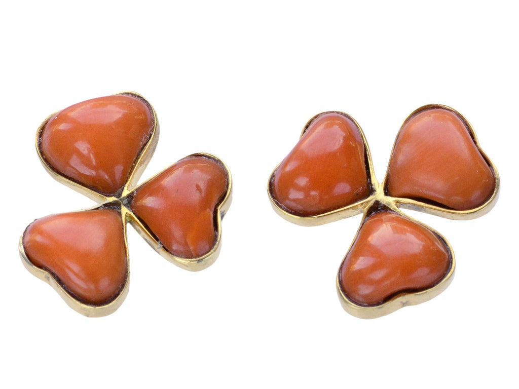 c1950 Coral Clover Earrings