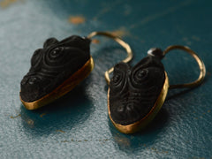 1890s Victorian Lava Crocodile Earrings