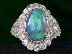 1940s Art Deco Opal and Diamond Ring
