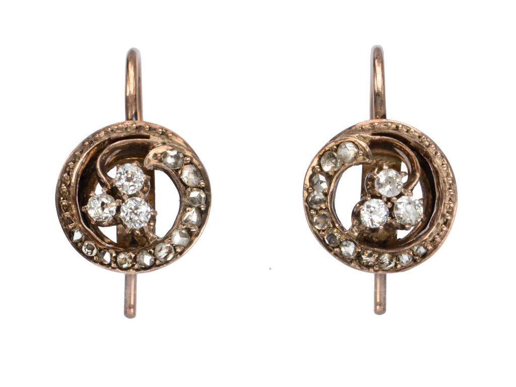 c1900 Diamond Clover Earrings