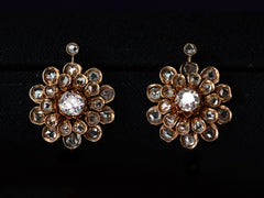 1880s Victorian Diamond Flower Earrings