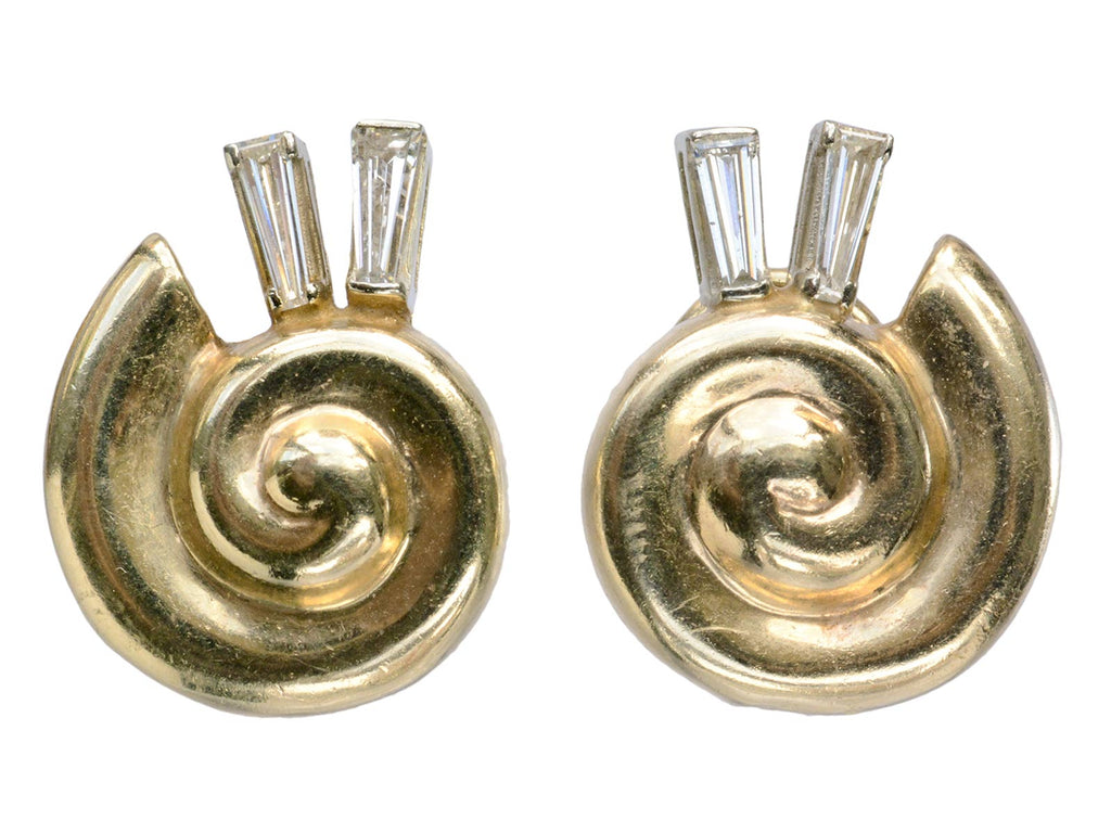 1970s Diamond Snail Earrings