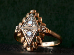 1930s Deco Double Triangle RIng