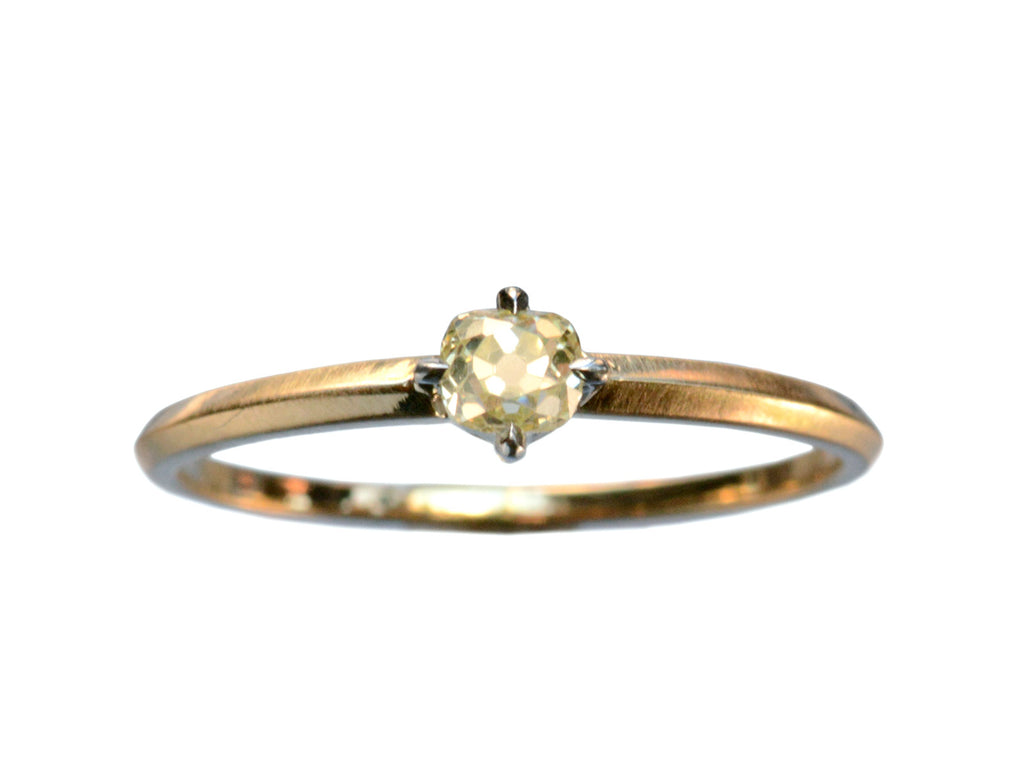 EB 0.25ct Fancy Yellow Old Mine Cut Diamond Ring