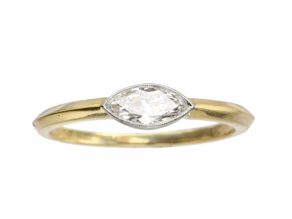 EB 0.35ct Old Cut Marquise Diamond Engagement Ring