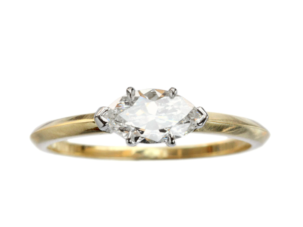 EB East-West 0.60ct Old Cut Marquise Diamond Engagement Ring