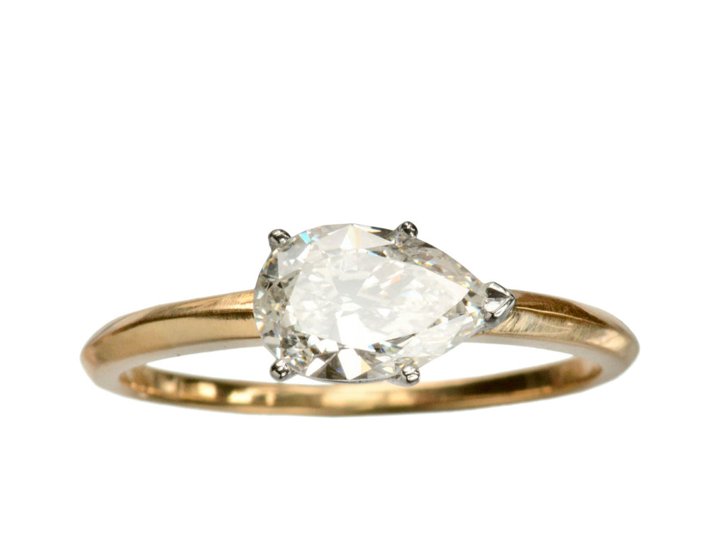 EB East-West 0.83ct Pear Diamond Ring