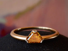 EB Triangular Marmalade Colored 0.86ct Diamond Engagement Ring