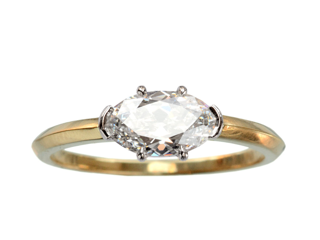 EB 0.93ct East-West Antique Oval Diamond Engagement Ring