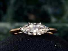 EB 1.00ct Old Cut Marquise Diamond Engagement Ring