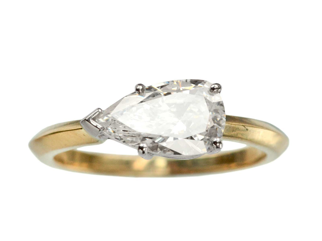EB 1.27ct East-West Pear Cut Diamond Engagement Ring