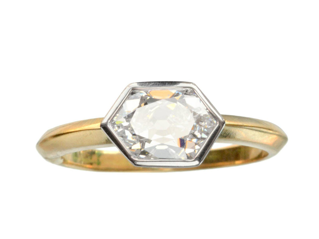 EB 1.33ct Hexagonal Old Cut Diamond Engagement Ring