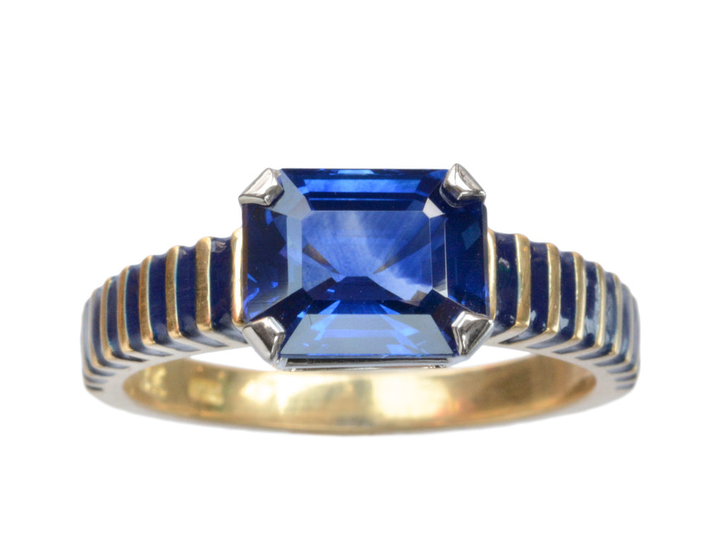 EB Sapphire and Enamel Ring
