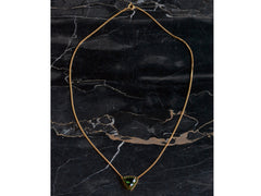 EB Triangular Tourmaline and Demantoid Garnet Pendant Necklace