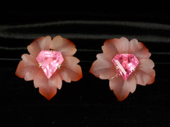 EB Pink Tourmaline and Agate Flower Stud Earrings