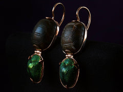 EB Modern Scarab & Jade Earrings