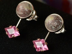 EB Pink Tourmaline and Turquoise Earrings