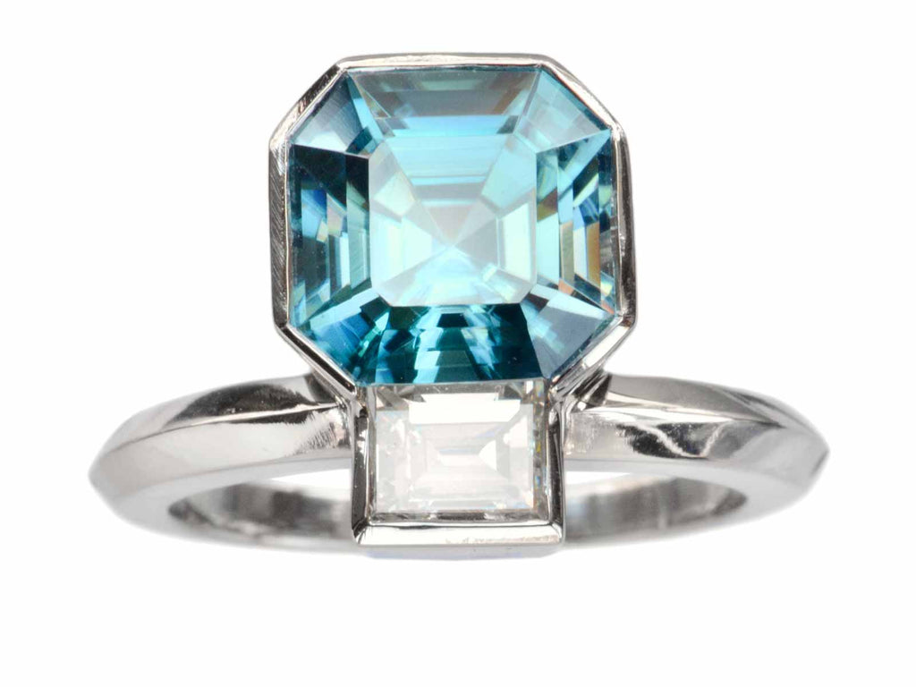 EB Blue Zircon & Diamond Ring