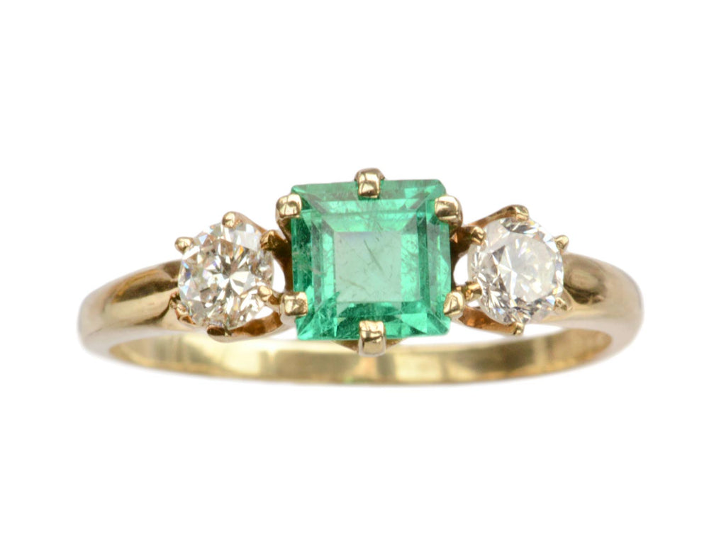 1940s Emerald and Diamond Ring