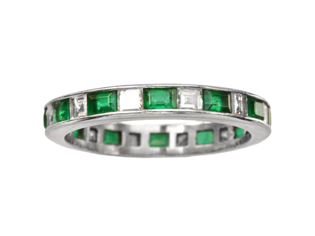1970s Emerald and Diamond Eternity Band