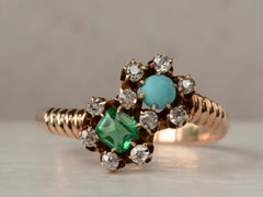 1900s Turqouise & Diamond Ring