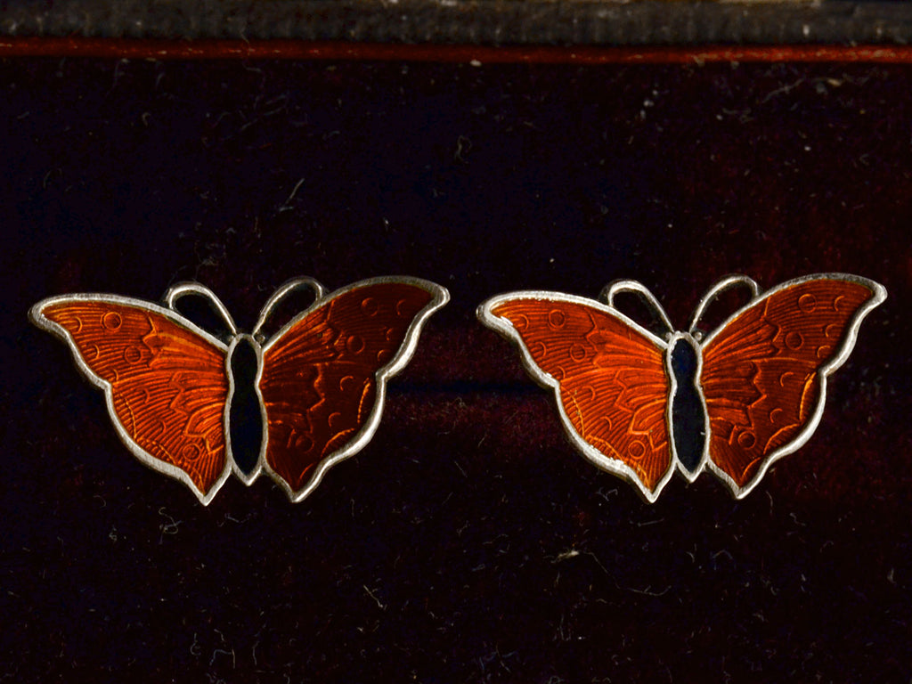 1950s Enamel Butterfly Earrings