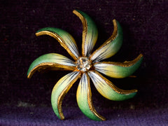 1910s Green Flower Brooch